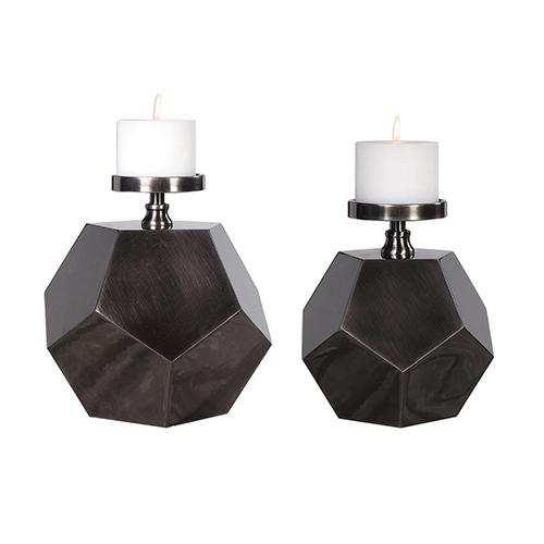 Uttermost Dash Antique Brushed Nickel Polygon Candleholder, Set of Two