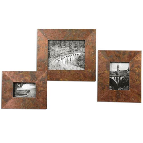 Ambrosia Oxidized Copper Photo Frame, Set of 3