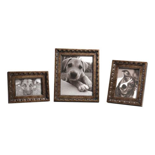 Kalya Antiqued Bronze Photo Frames, Set of Three