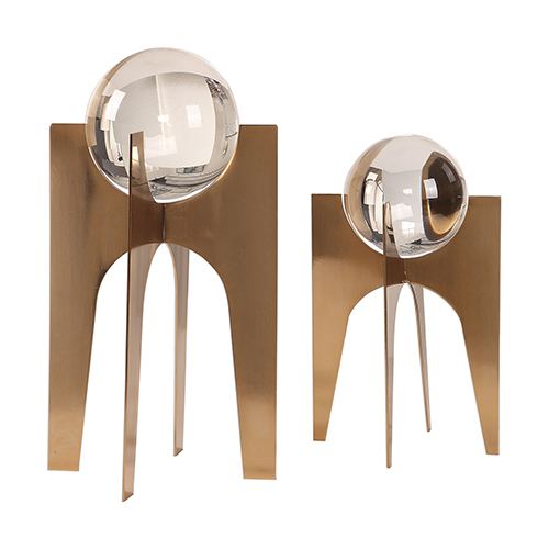 Ellianna Crystal Spheres on Copper Bronze Bases, Set of 2