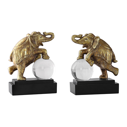 Circus Act Gold Elephant Bookends, Set of 2