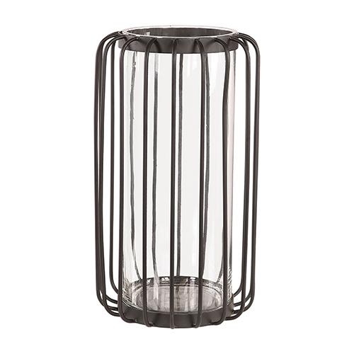 Zariah Aged Black Iron Cage Vase