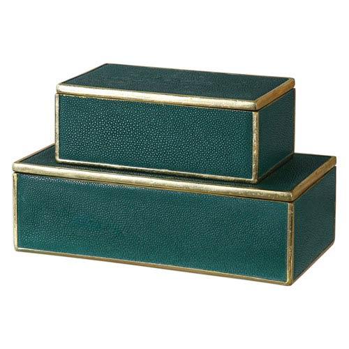 Karis Emerald Green Boxes, Set of Two