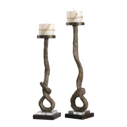 Driftwood Candleholders, Set of Two