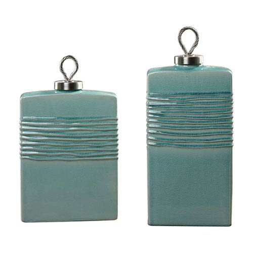 Rewa Green Ceramic Containers, Set of Two
