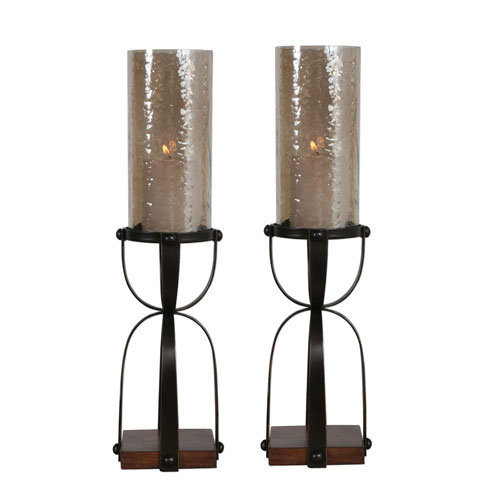 Arka Dark Bronze Candleholders, Set of Two