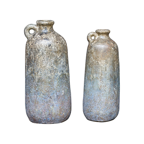 Ragini Aged Caramel and Blue Bottles, Set of 2
