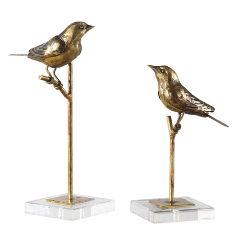 Passerines Bird Sculptures, Set of Two