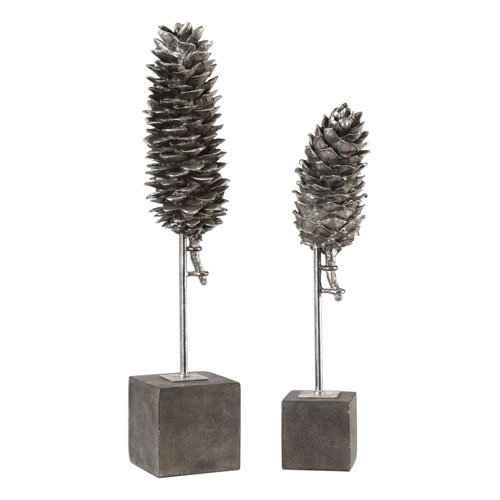 Longleaf Pine Cone Sculptures, Set of Two