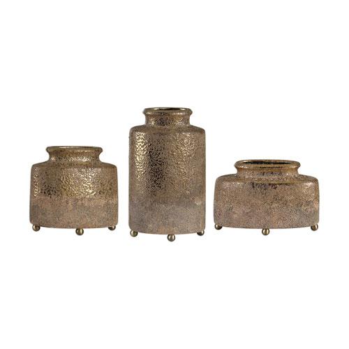 Kallie Metallic Golden Vessels, Set of Three