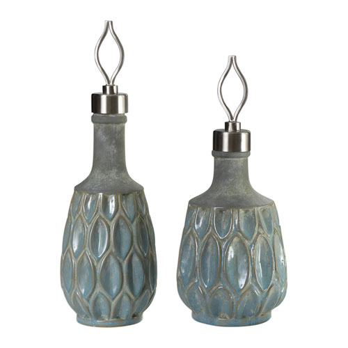 Arpana Blue And Gray Bottles, Set of Two