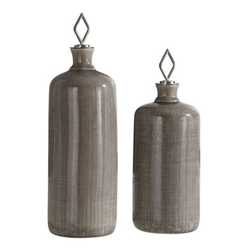 Uttermost Dhara Taupe Glaze Bottles, Set of 2