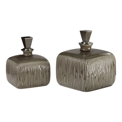 Uttermost Cayson Ribbed Ceramic Bottles, Set of 2
