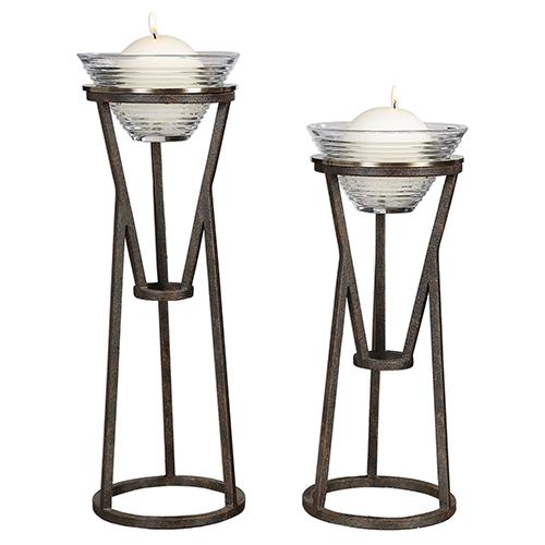 Lane Aged Iron Candleholder, Set of Two