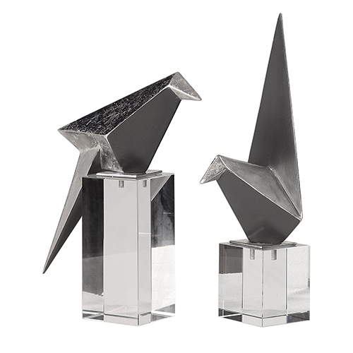 Origami Bird Figurine, Set of Two