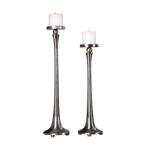 Aliso Cast Iron Candleholder, Set of Two