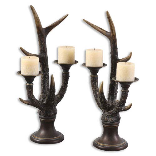 Uttermost Stag Horn Candleholder, Set of Two