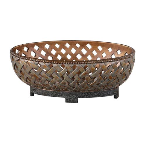 Teneh Copper Bronze Lattice Weave Bowl