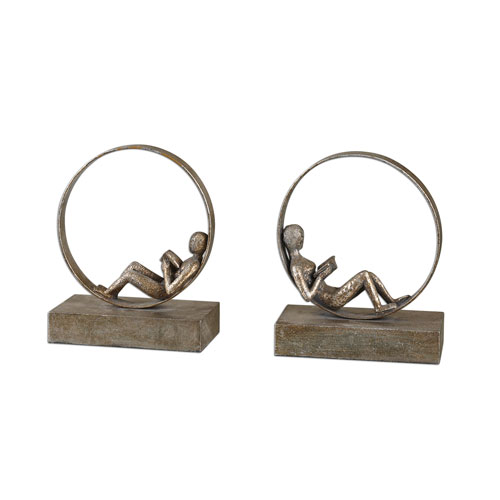 Lounging Reader Antique Silver Bookends, Set of Two