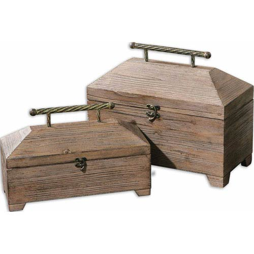 Tadao Natural Wood Decorative Box, Set of 2