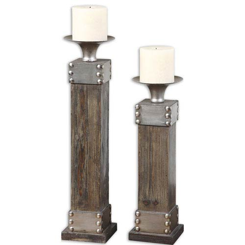 Uttermost Lican Stain and Antique Silver Candleholder, Set of 2