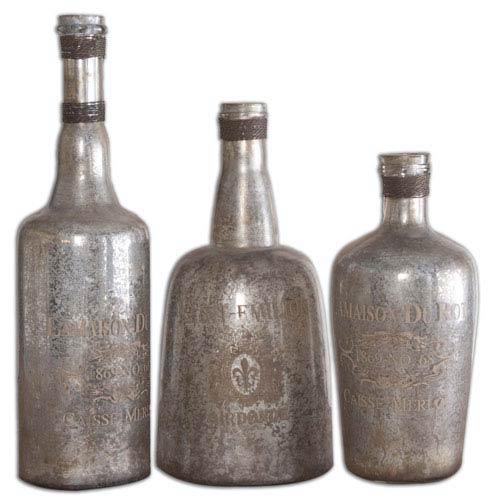 Lamaison Silver Mercury Glass Decorative Bottle Canister, Set of 3