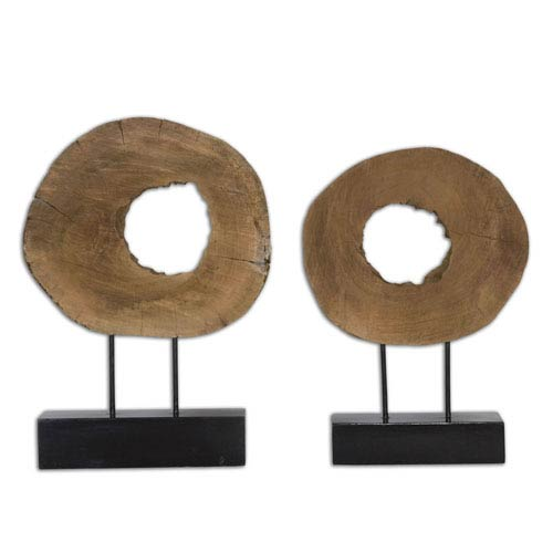 Uttermost Ashlea Natural Mango Wood and Matte Black Sculpture Set of 2