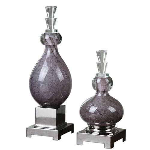 Charoite Polished Aluminum Bottle, Set of 2