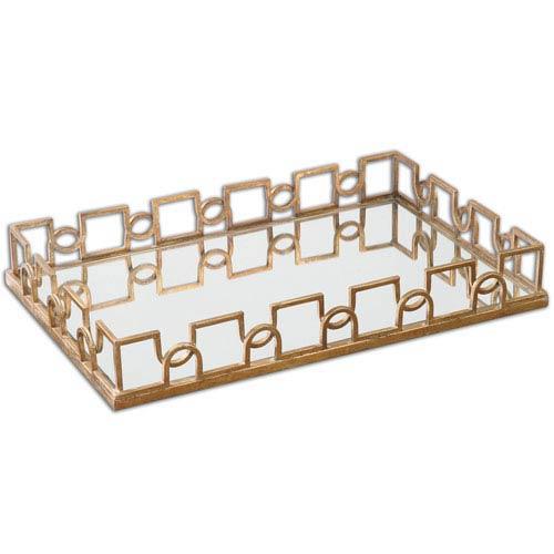 Nicoline Brass Patina Mirrored Tray