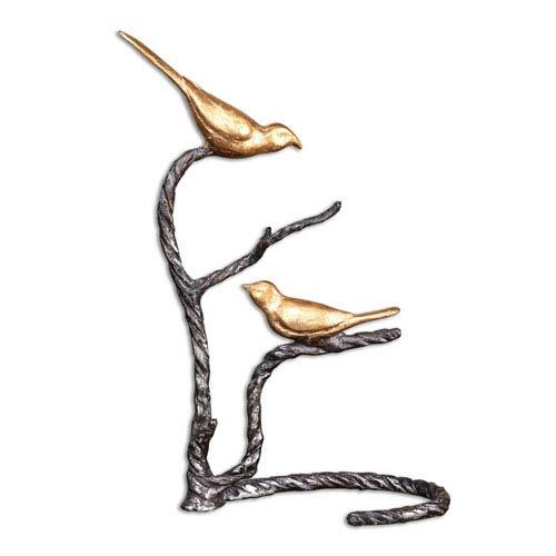 Metallic Gold Birds on a Limb Sculpture