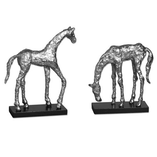 Silver Lets Graze Horse Statues, Set of Two