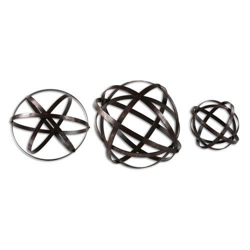 Stetson Aged Bronze Spheres, Set of Three