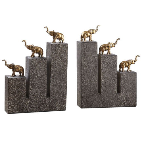 Uttermost Antique Gold Elephant Bookends, Set of Two