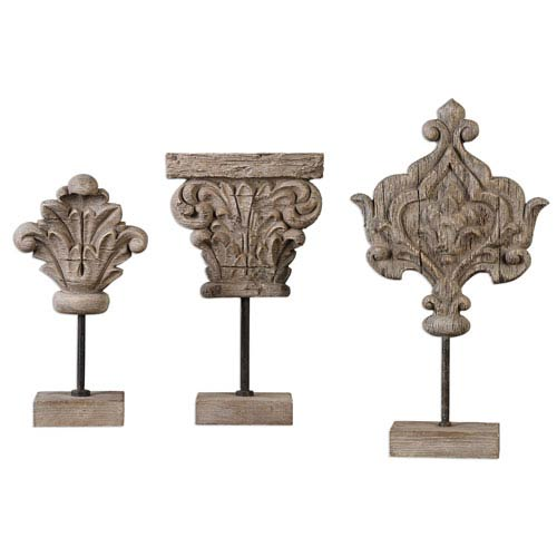 Marta Ivory Gray Sculpture, Set of Three