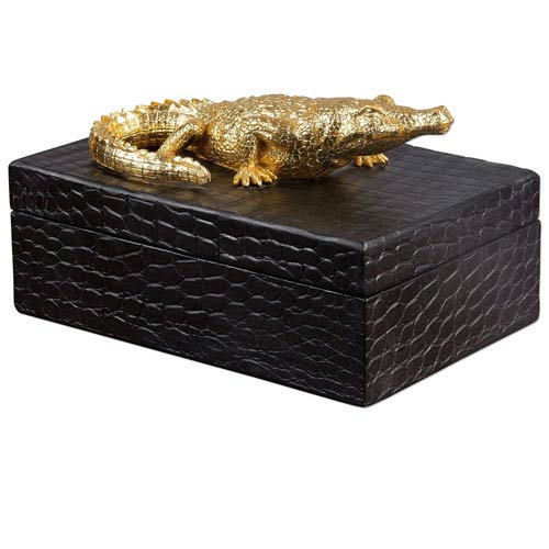 Black and Gold Crocodile Box
