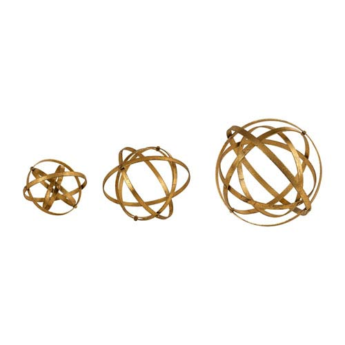 Stetson Antique Gold Spheres, Set of Three