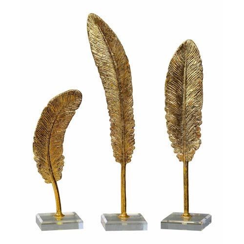Feathers Gold Sculpture, Set of 3