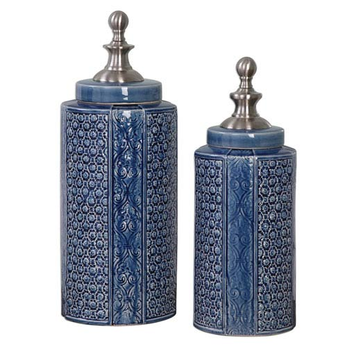 Pero Sapphire Blue Urns, Set of 2