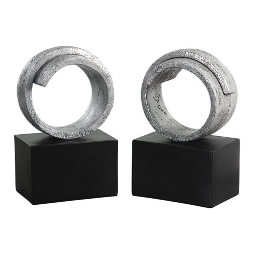 Twist Modern Silver Bookends, Set of 2