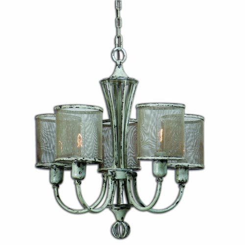 Pontoise Antiqued Ivory Five Light Vintage Chandelier