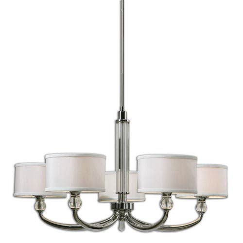 Uttermost Vanalen Polished Chrome Five Light Chandelier
