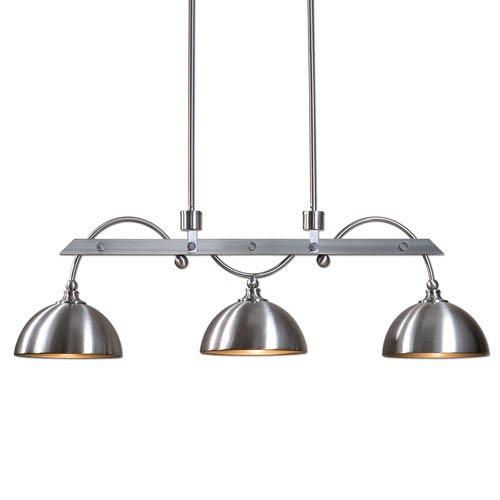 Uttermost Malcolm Satin Nickel Industrial Three-Light Island Light