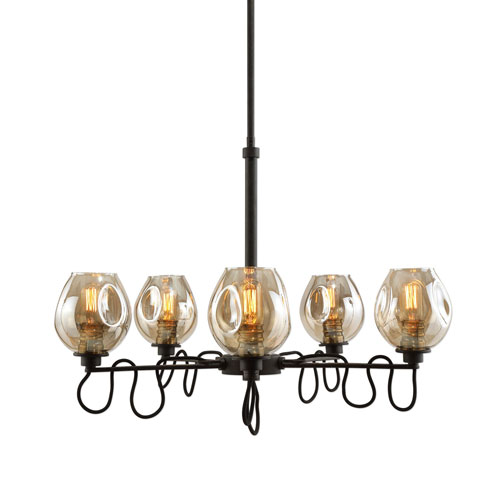 Fritz Five-Light Gold Glass Chandelier