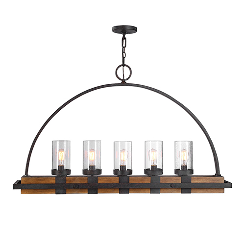 Atwood Deep Weathered Bronze Five-Light Linear Chandelier