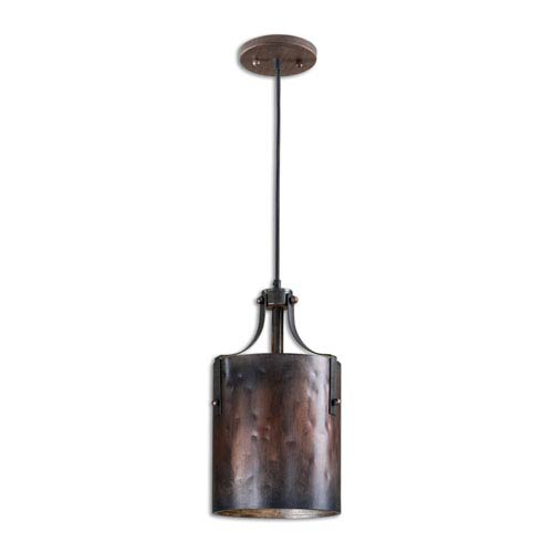 Akron Copper and Burnished One-Light Mini Pendant
