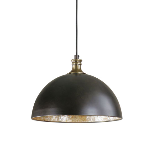 Uttermost Placuna Bronze with Antique Brass One Light Pendant