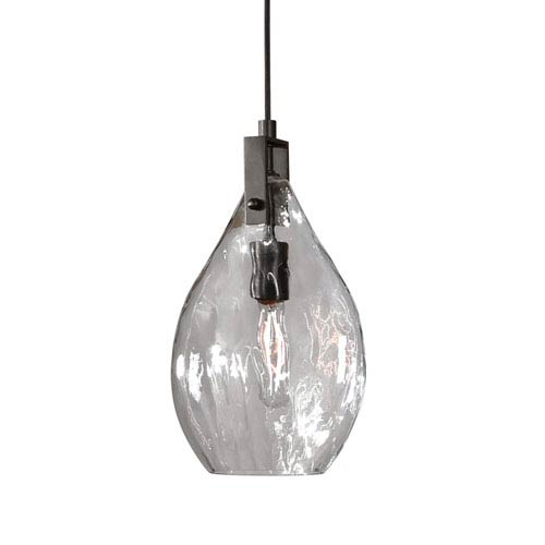 Uttermost Campester Matte Black with Watered Glass One-Light Mini Pendant