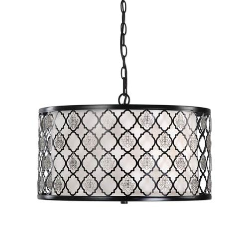 Filigree Black with Silver Accents Three-Light Drum Pendant