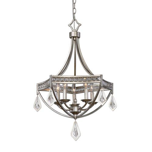 Tamworth Silver Champagne Five-Light Modern Pendant