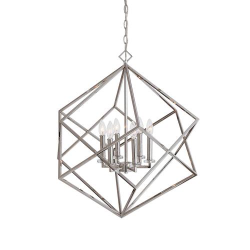 Uttermost Euclid Six-Light Nickel Cube Pendant
